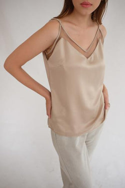 Satin Tulle Camisole In Deep Choco XL