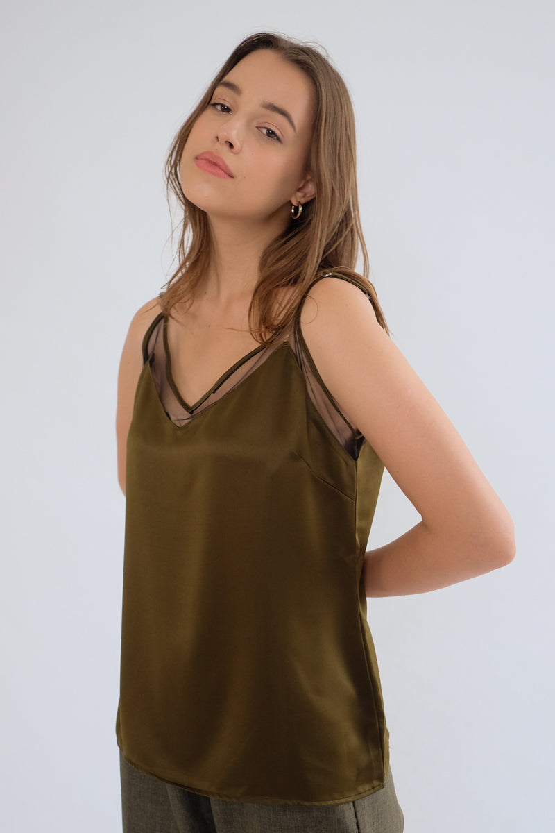 Satin Tulle Camisole in Olive