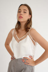 Satin Tulle Camisole in White