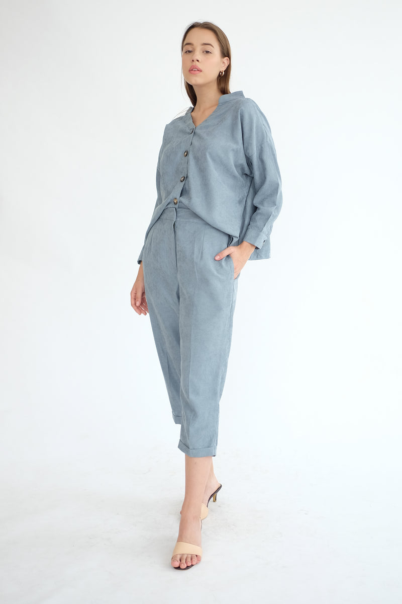 Nobel Reversible Top in Dusty Blue