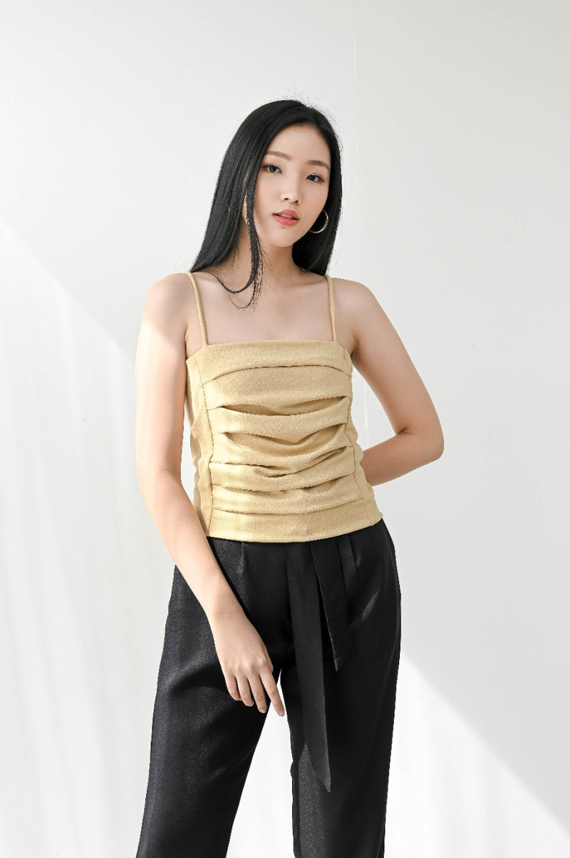 Liz Pleated Inner Tank in Pale Yellow