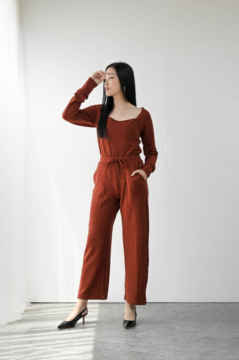 Monza Comfy Cullote Pants in Brick