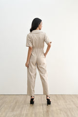 CORRIE JUMPSUIT IN LATTE (SHIPPING FIRST WEEK OF MAY)