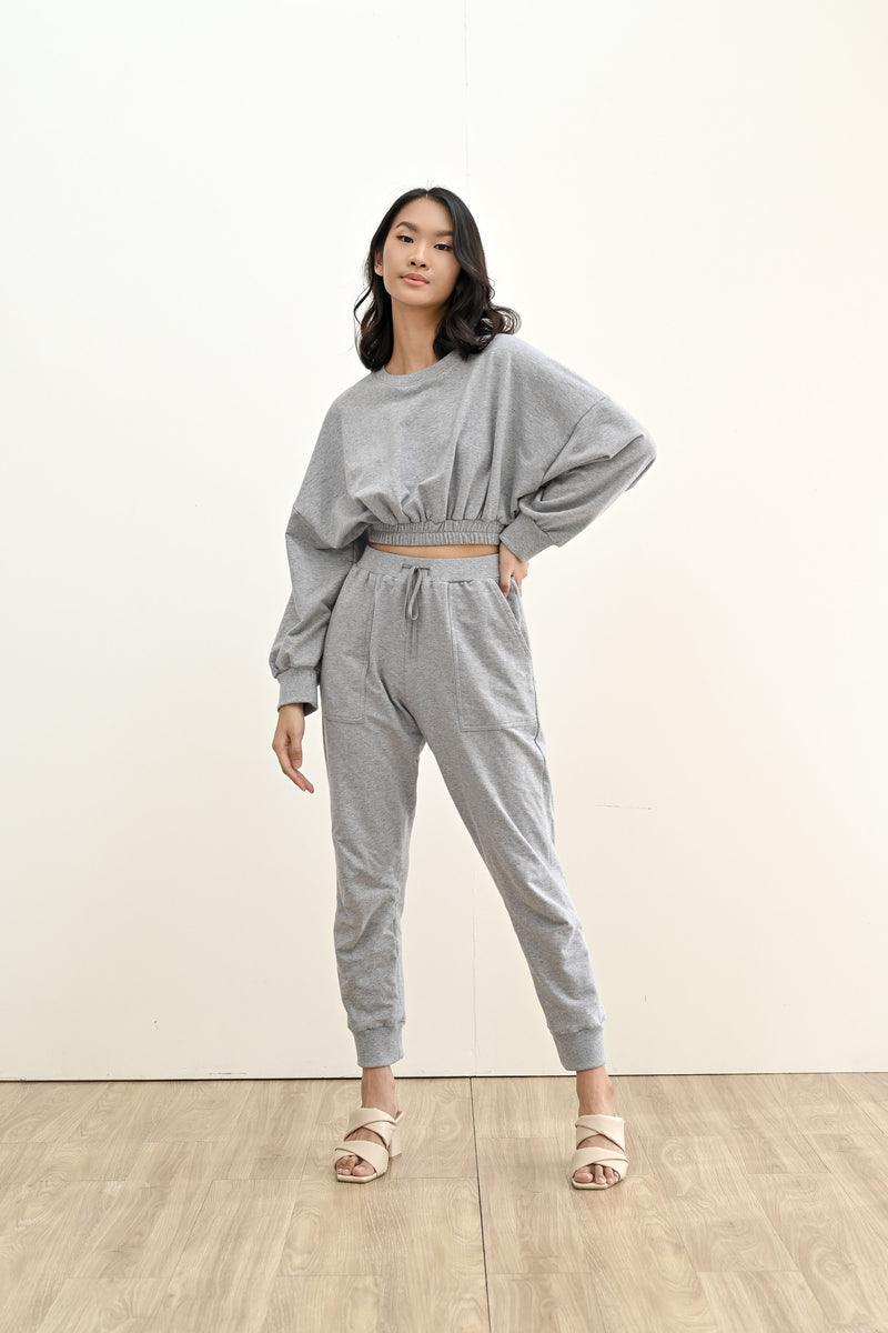 BUNDLE SET - TERRY CROPPED SWEATER & TERRY JOGGER PANTS IN MISTY GREY (SHIPPING FIRST WEEK OF MAY)