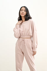 BUNDLE SET - TERRY CROPPED SWEATER & TERRY JOGGER PANTS IN BABY PINK (SHIPPING FIRST WEEK OF MAY)