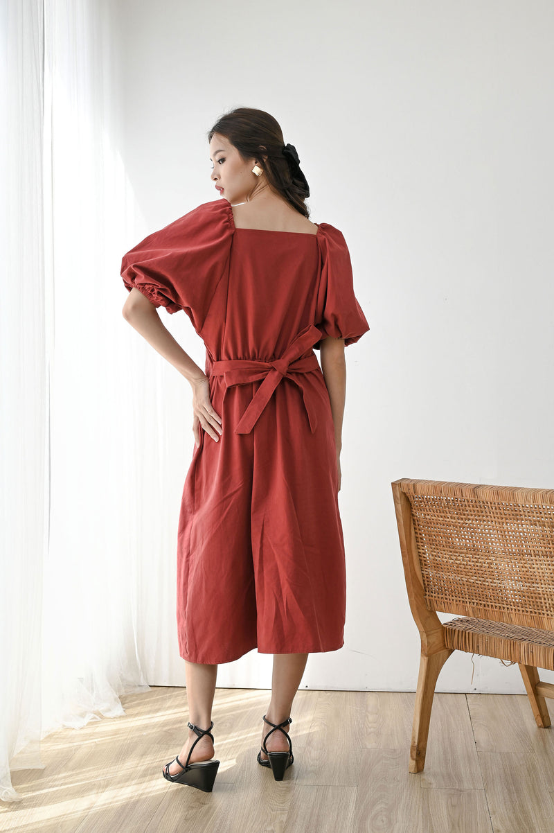 Give Puff Sleeve Dress in Brick Red