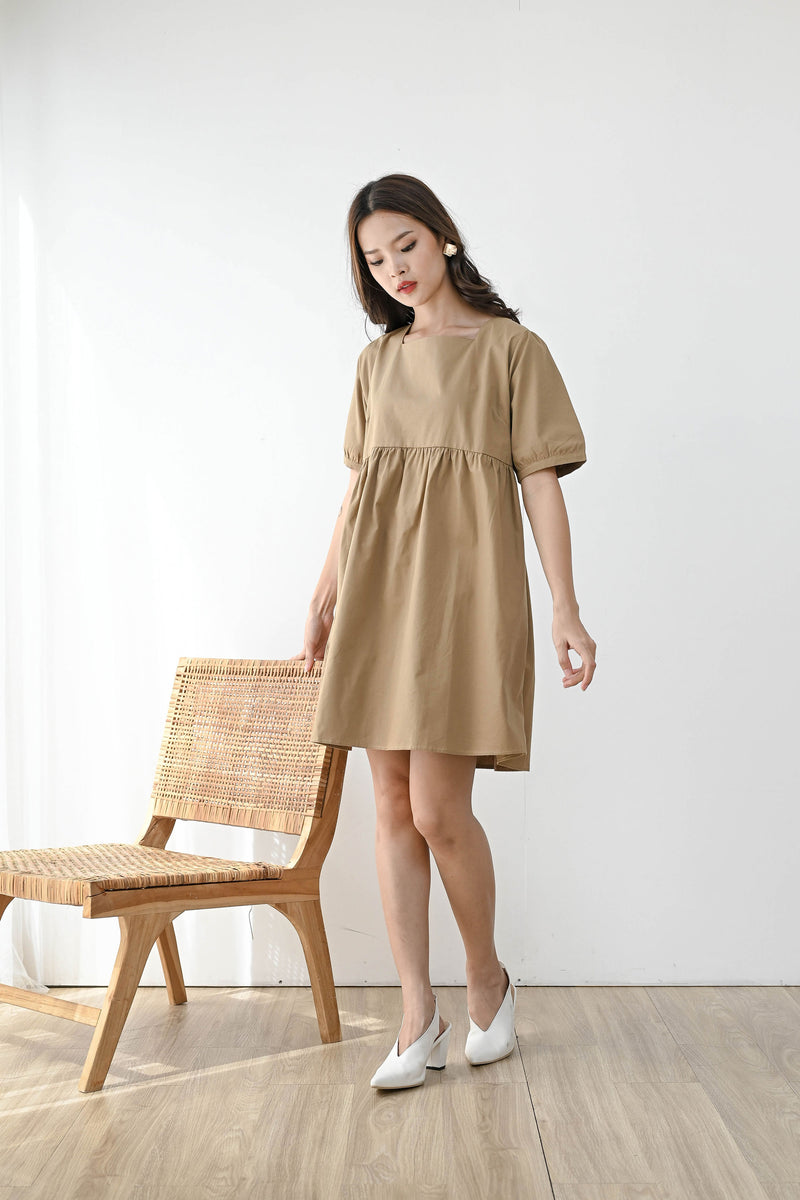Witty Square Neck Mini Dress in Camel