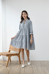 Grateful Tiered Dress in Icy Blue