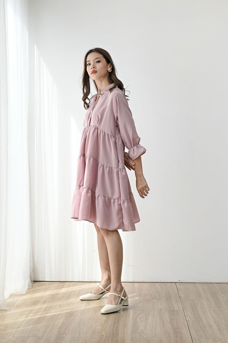 Grateful Tiered Dress in Dusty Pink
