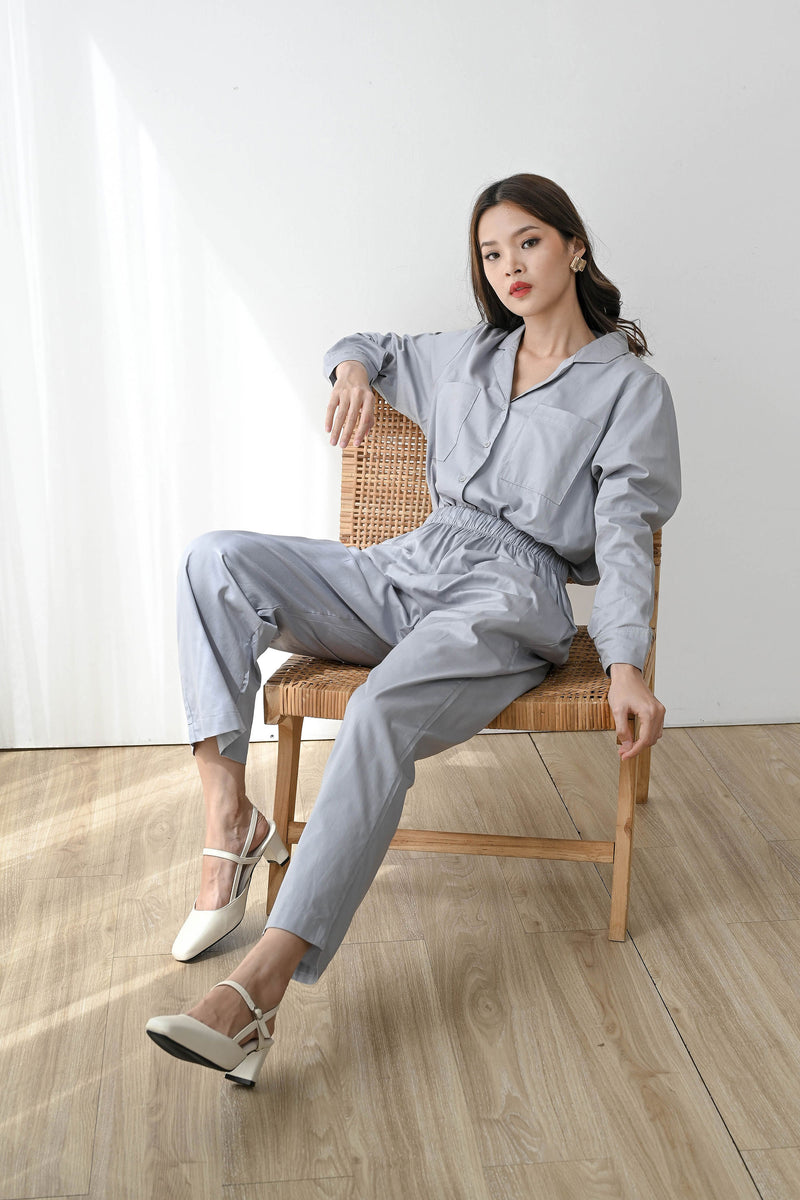 Home or Out Cool Pajama Set in Sky Grey