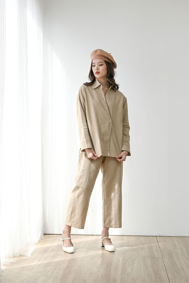 Fearless Linen Top outer in Natural Khaki