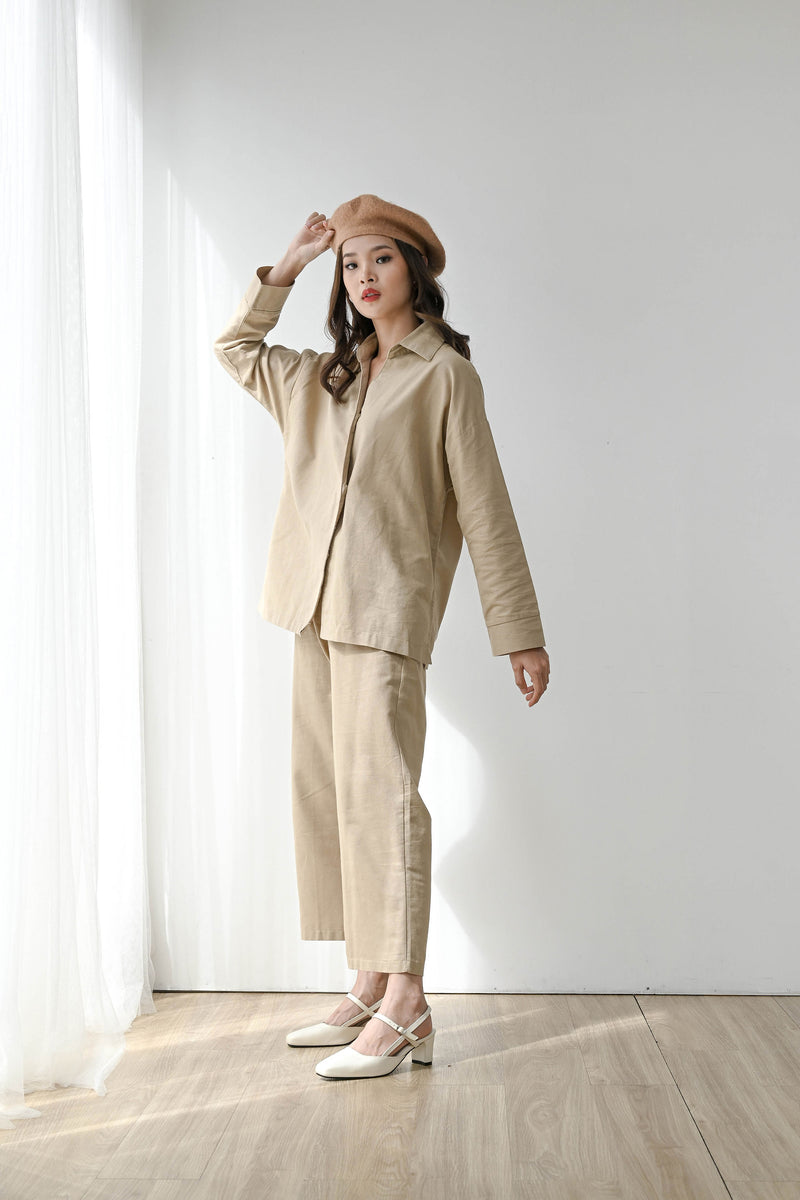 Fearless Linen Outfit Set in Natural Khaki