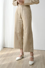 Fearless Linen Midi Cullote in Natural Khaki