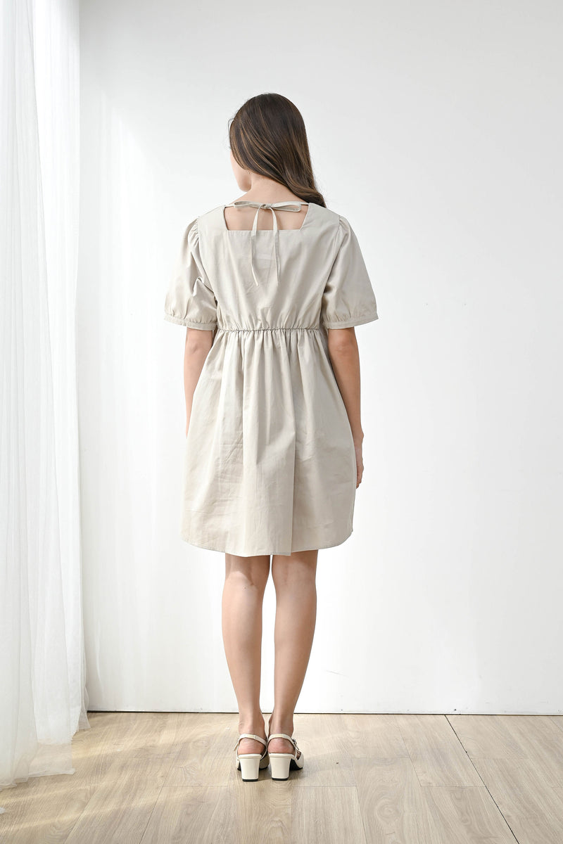 Witty Square Neck Mini Dress in Sand