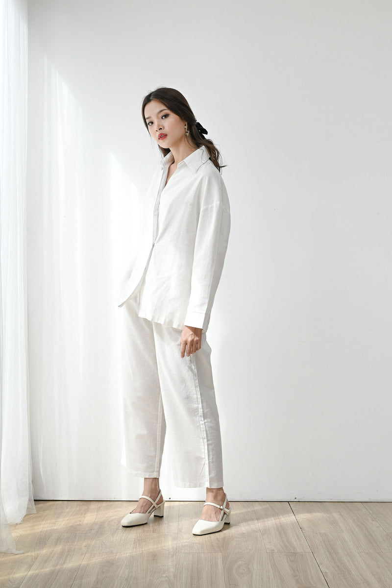 Fearless Linen Top outer in White