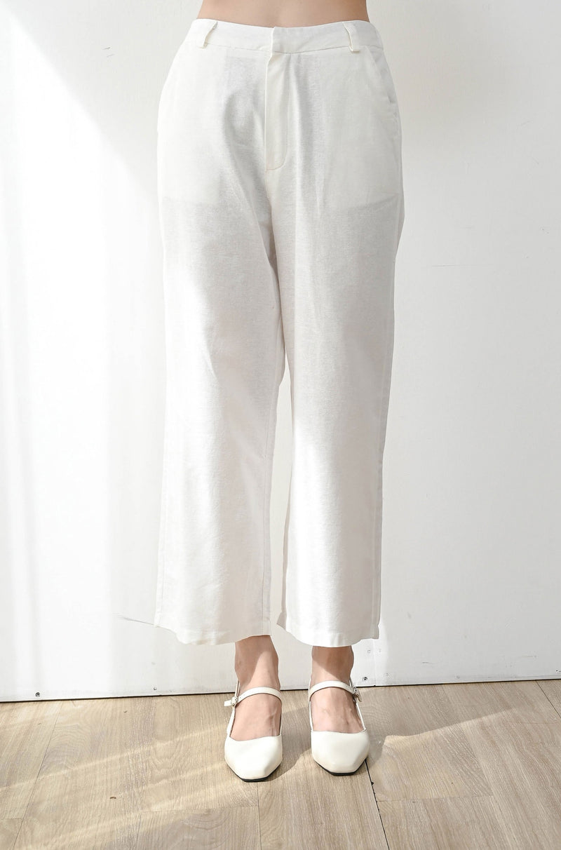 Fearless Linen Midi Cullote in White