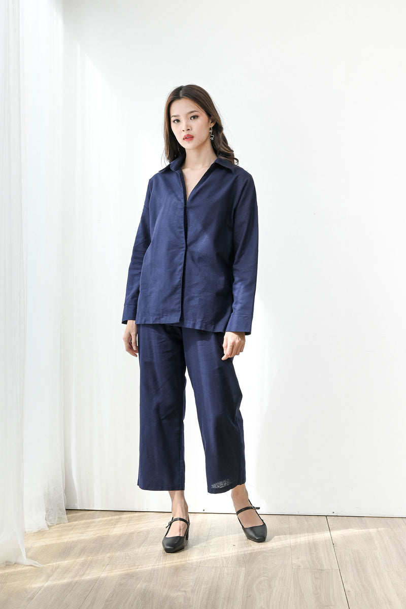 Fearless Linen Outfit Set in Navy