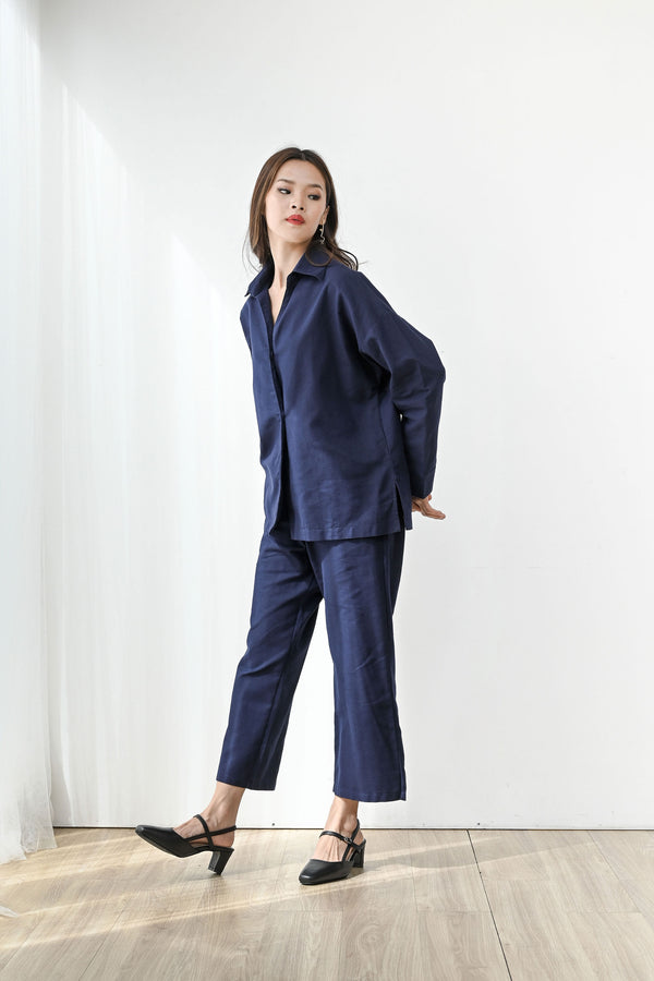Fearless Linen Midi Cullote in Navy