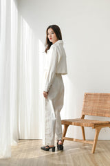 Set Loyal Cropped Blazer + Trust Highwaist Cullote in Broken White