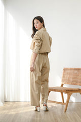 Set Loyal Cropped Blazer + Trust Highwaist Cullote in Khaki