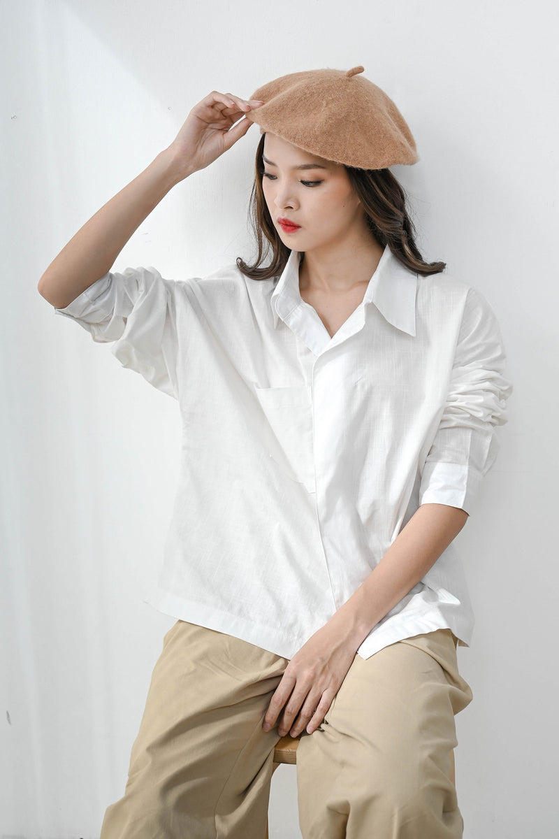 Flap Oversized Shirt in Classic White