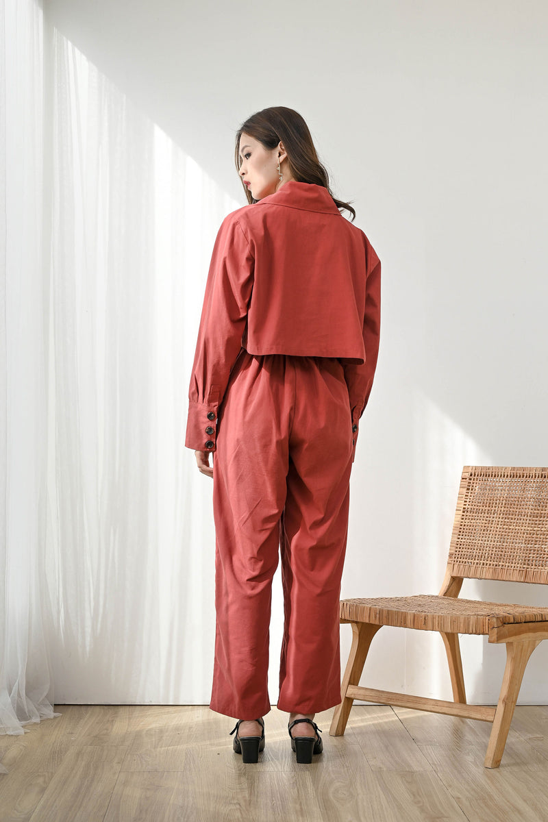 Set Loyal Cropped Blazer + Trust Highwaist Cullote in Brick Red
