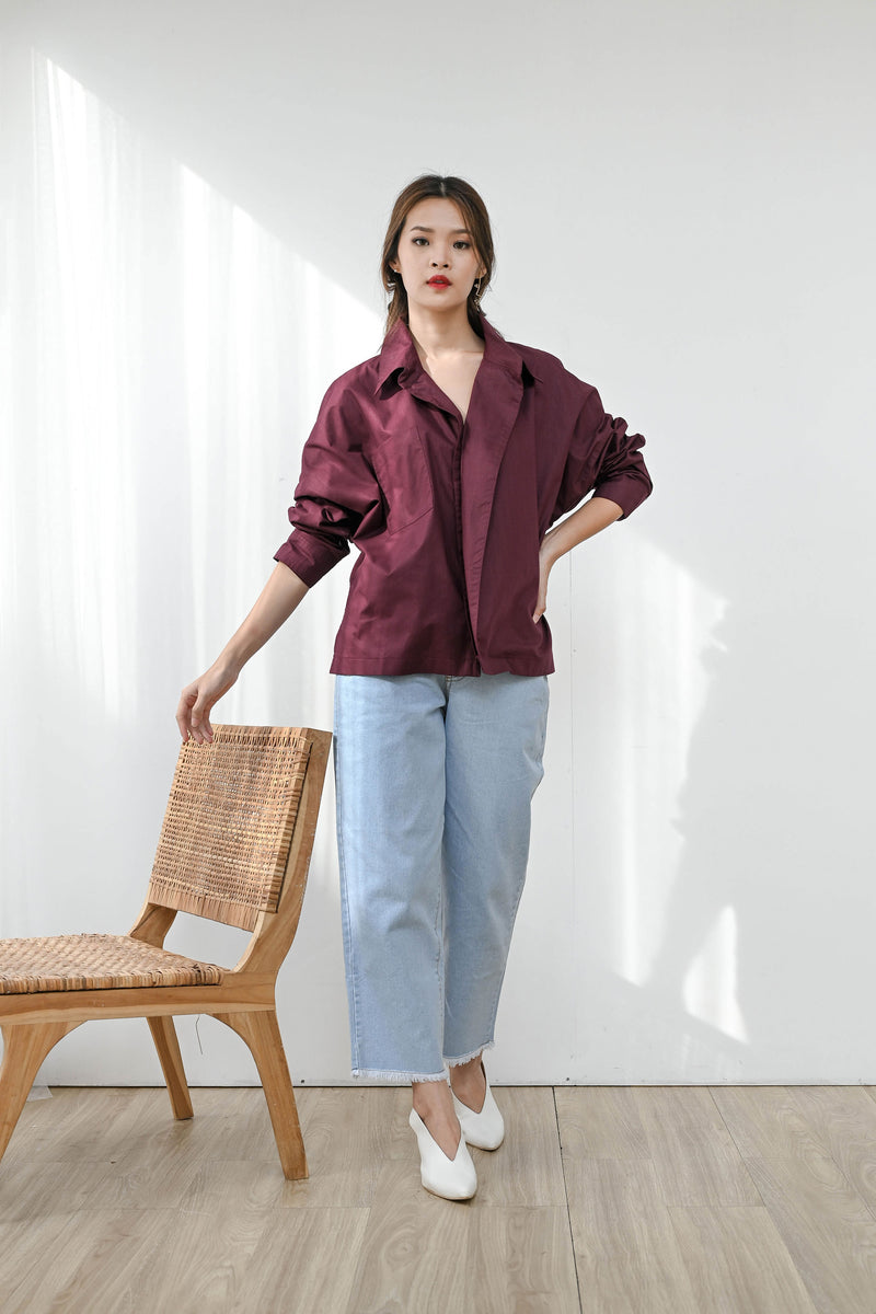 Flap Oversized Shirt in Deep Plum