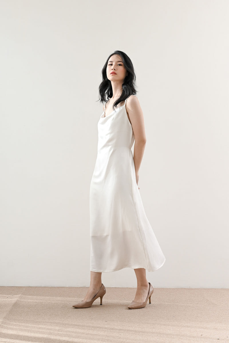 Classic Satin Slip Dress in Pearl White