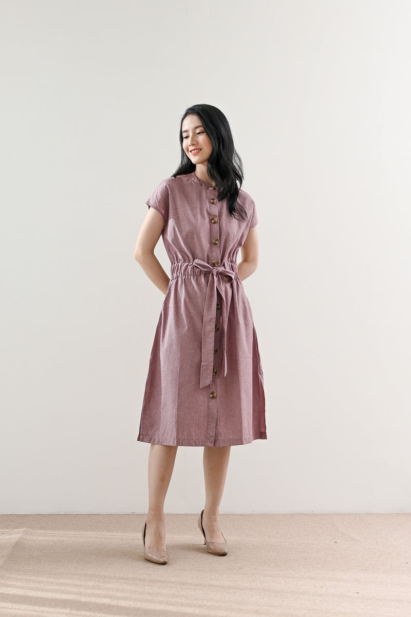 Neil Outer Dress in Mauve Maroon