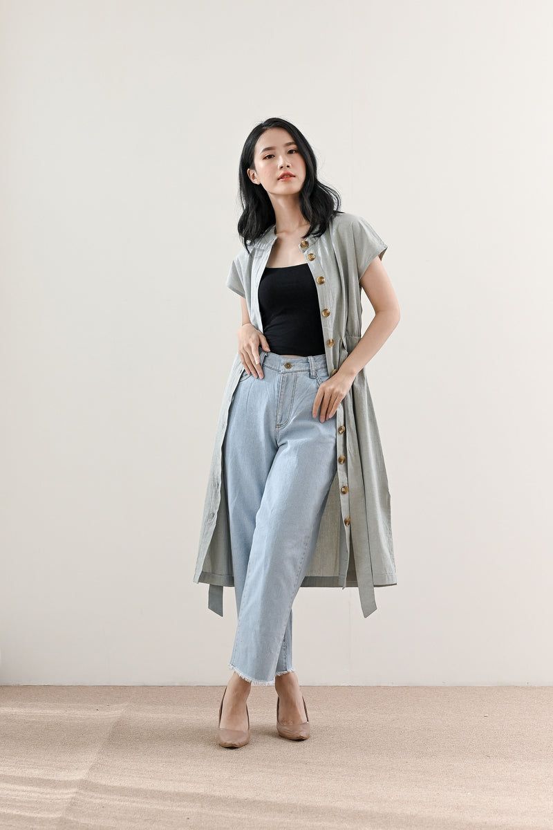 Neil Outer Dress in Grey Sage