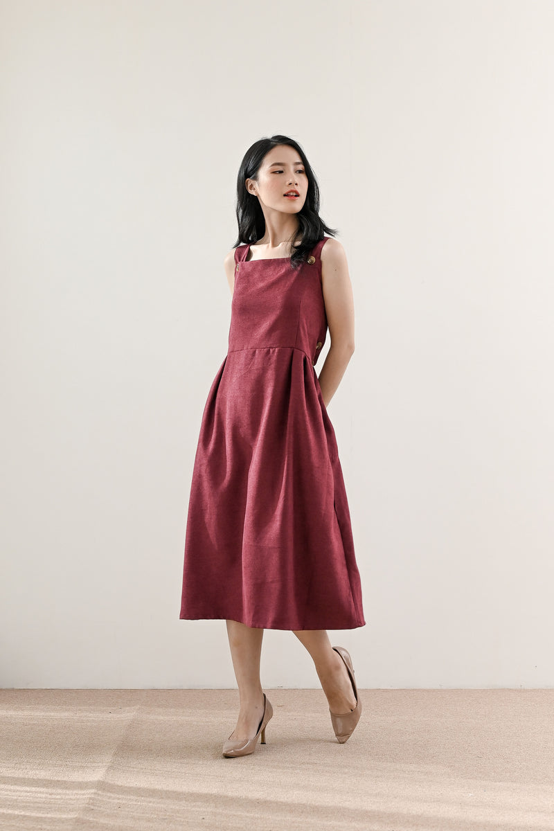 Jane Pinafore Dress in Wine Cherry