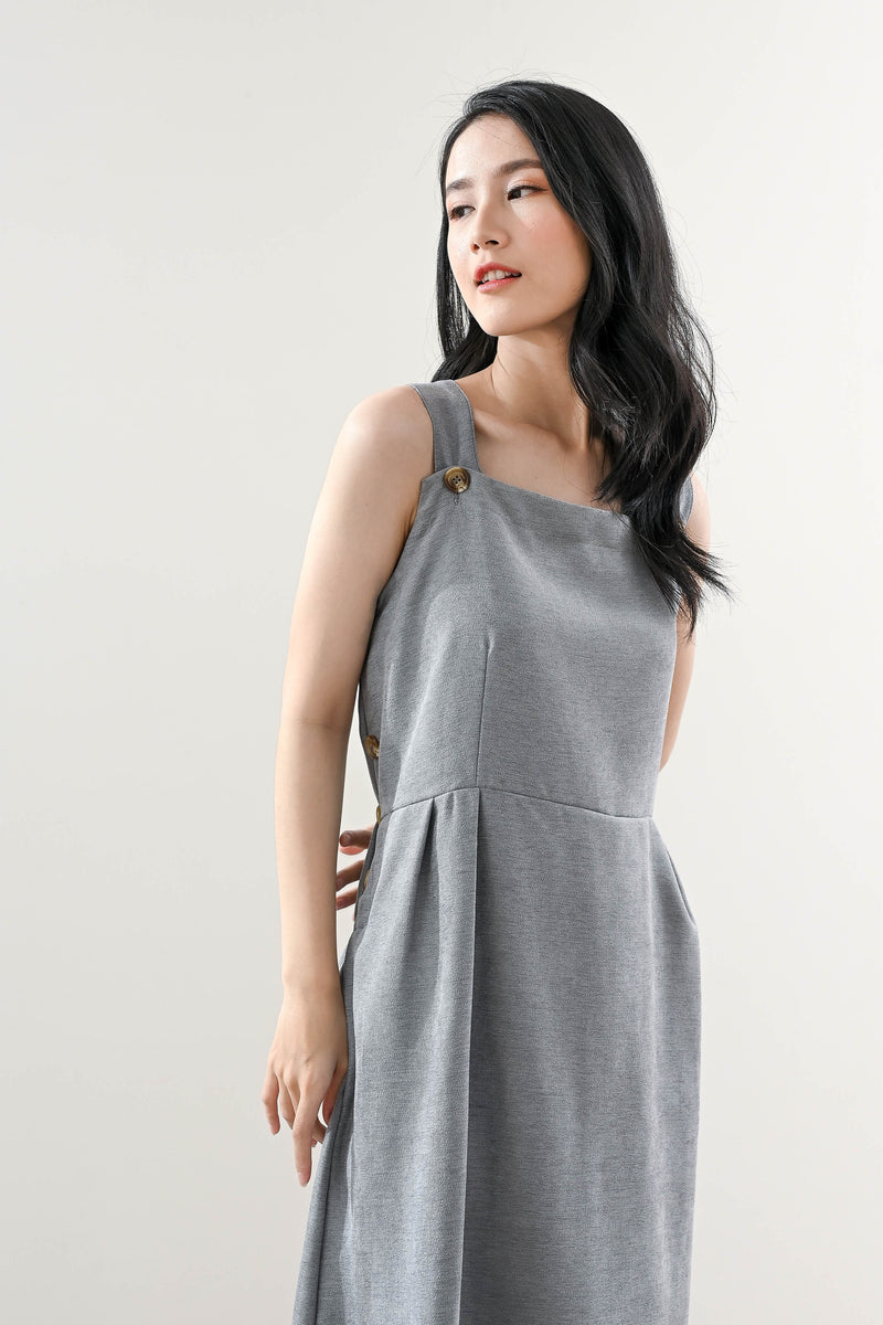 Jane Pinafore Dress in Cloudy Blue