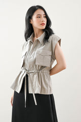 Devon Pocket Vest Top in Creme