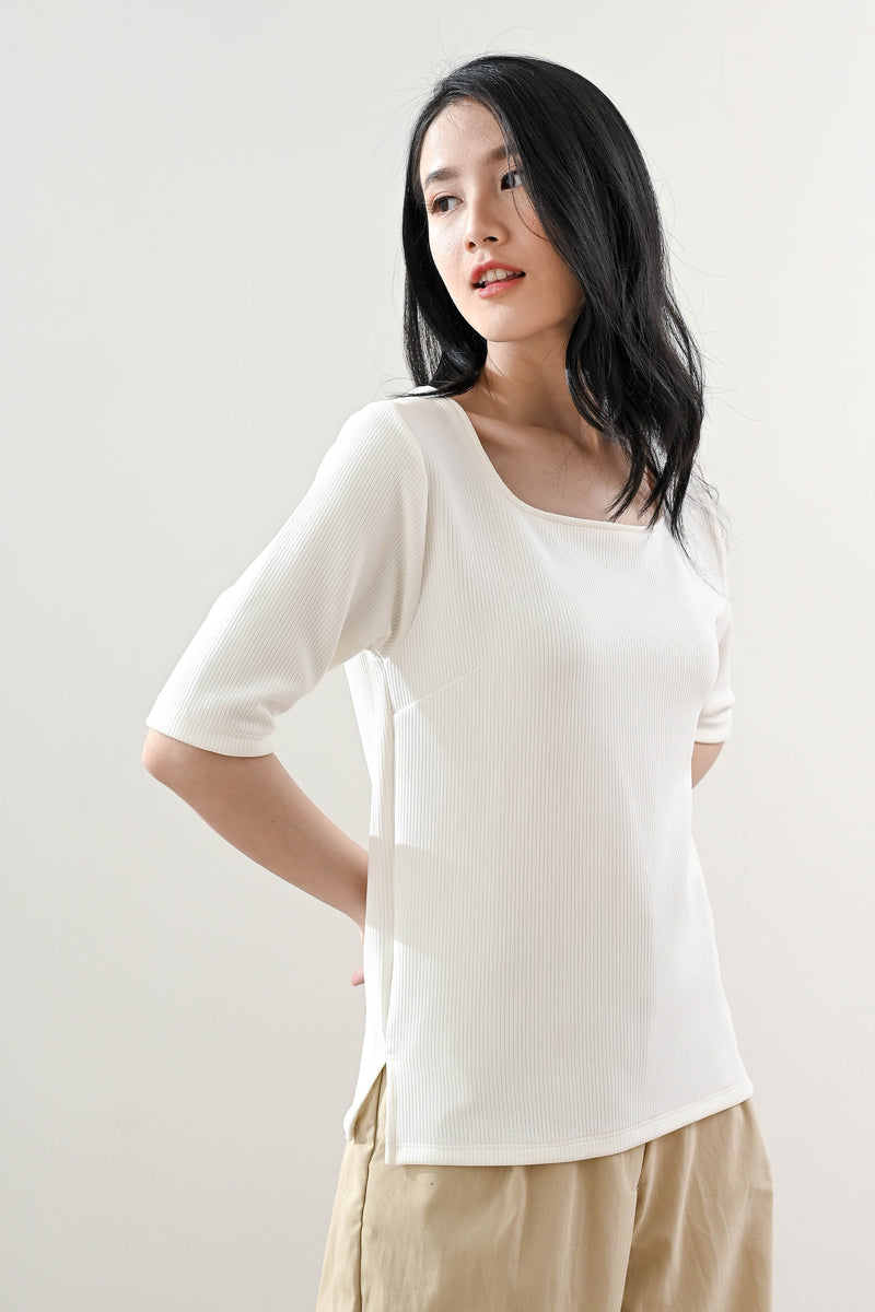 Jaz Square Neck Top in Broken White