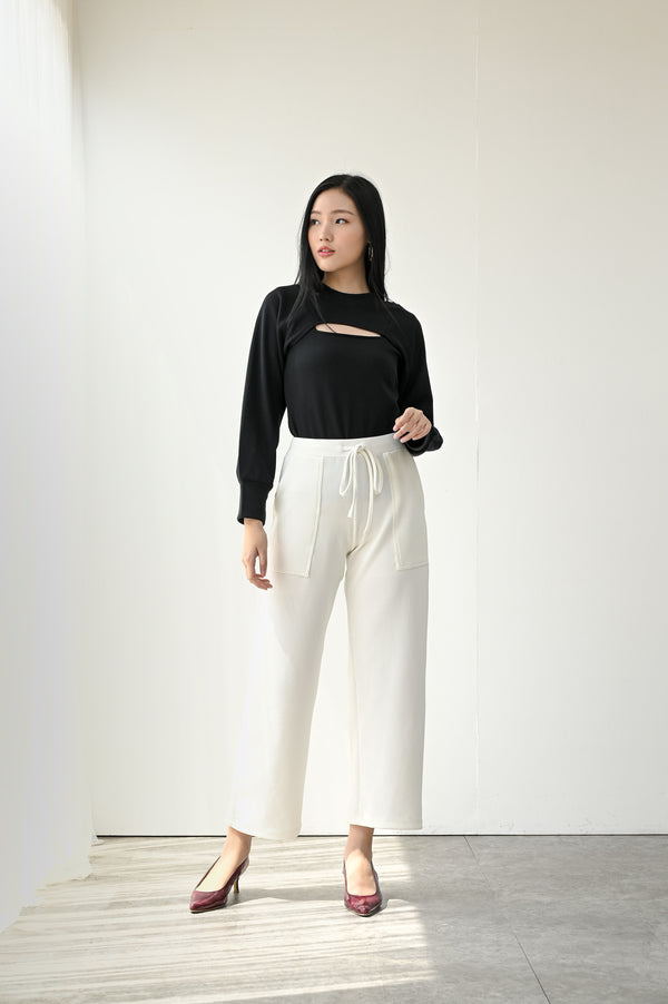 Monza Comfy Cullote Pants in White