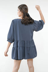 Joyful Puff and Shorts Set in Smoke Blue