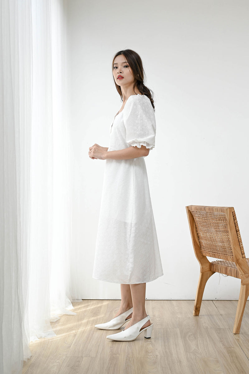 Multiway Eyelet Dress in White