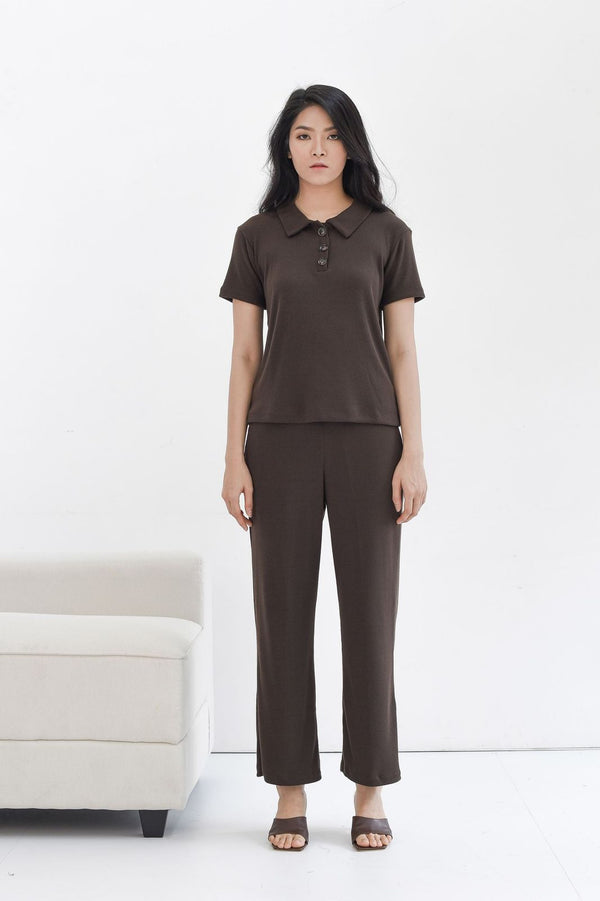 Home Rib Set in Dark Coffee ( T-shirt & Cullote Pants )