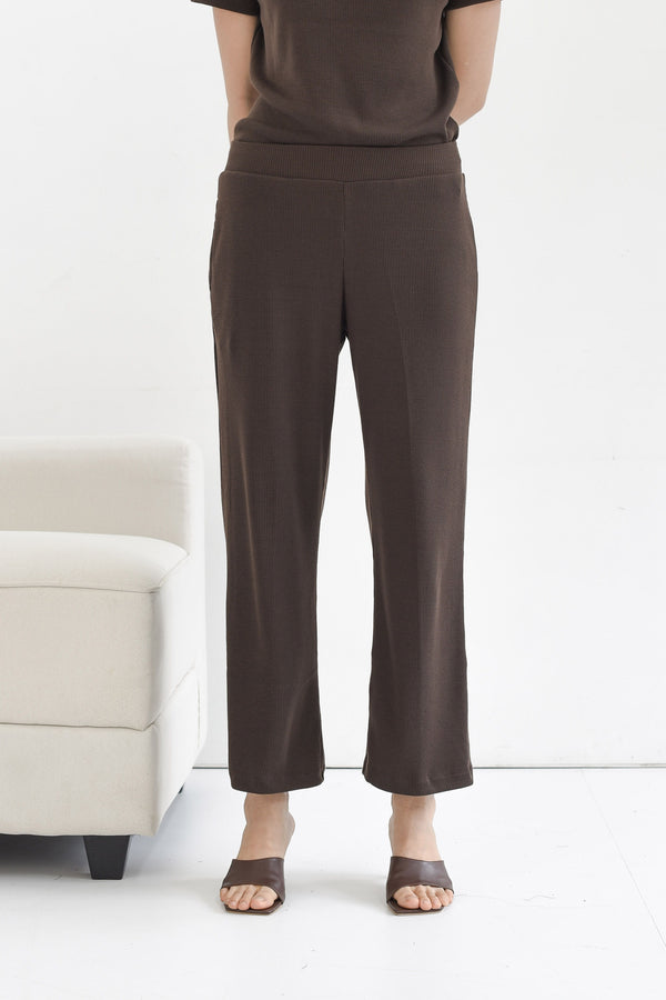 Home Rib Cullote Pants in Dark Coffee