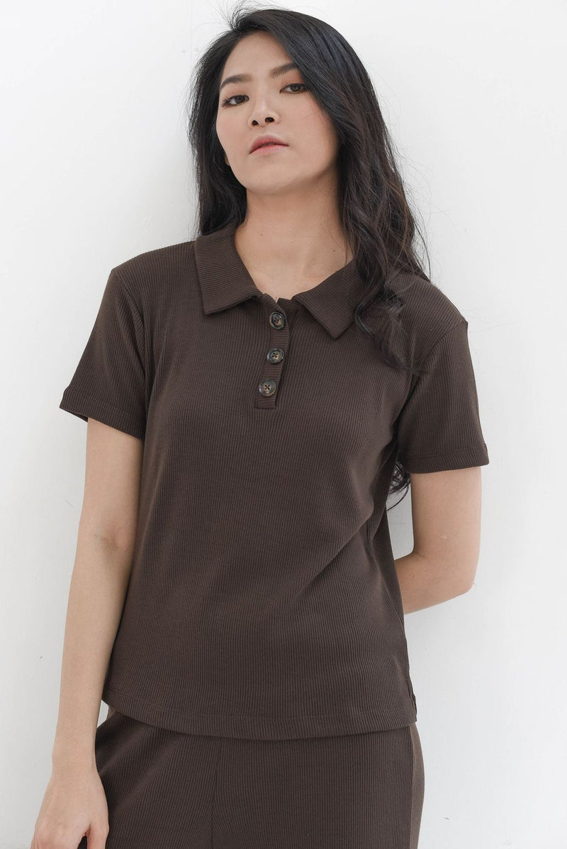 Home Rib T-shirt in Dark Coffee