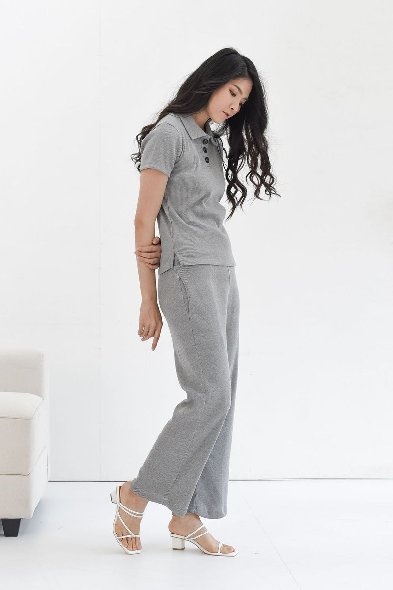 Home Rib Set in Grey ( T-shirt & Cullote Pants )