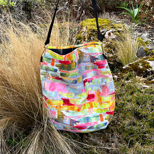 Abstract Needle Cord Slouch Bag