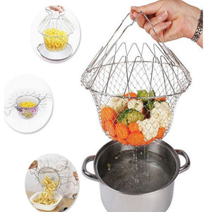 Multifunction Stainless Steel Telescopic Folding Basket
