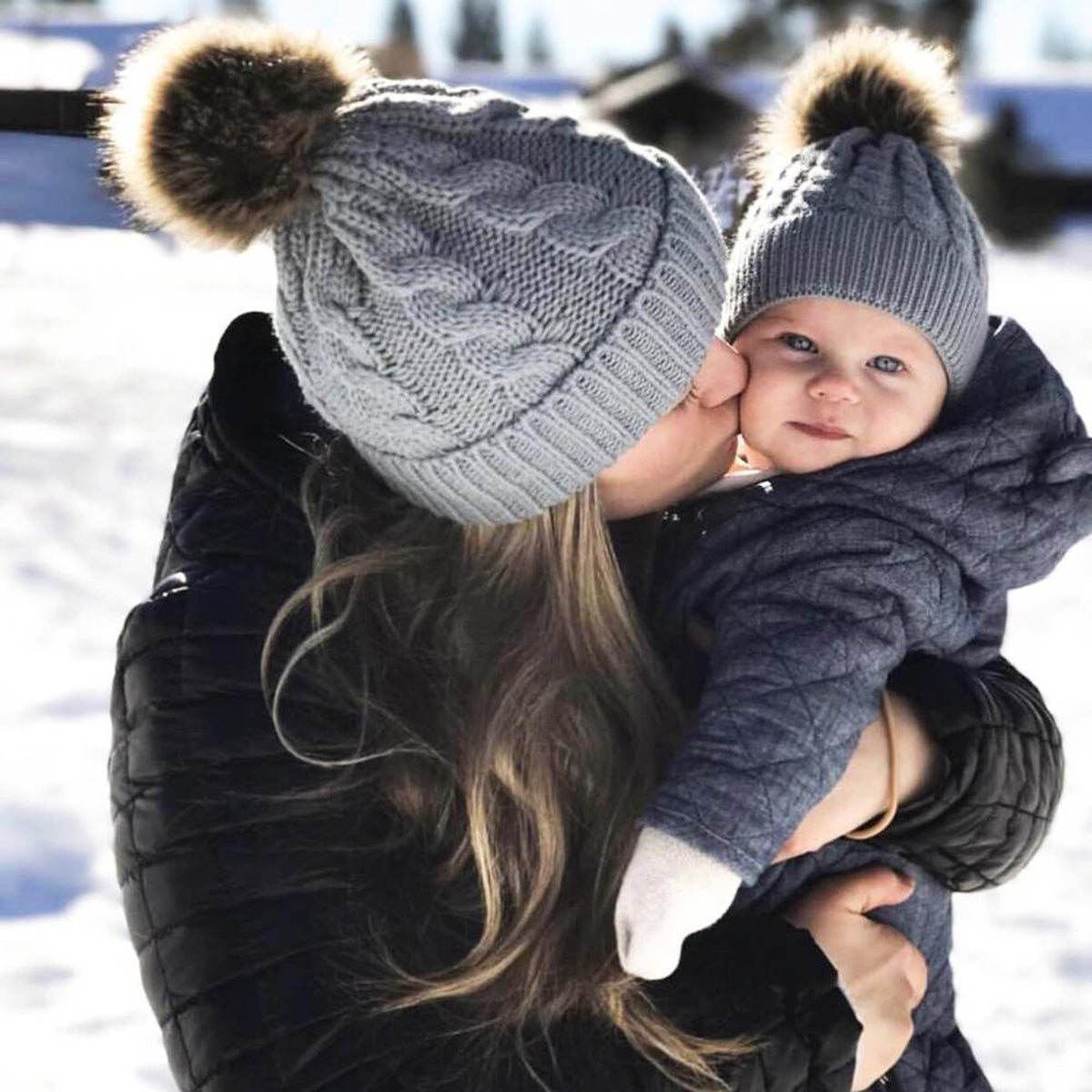 2pcs Mom and Daughter Matching Faux Fur Beanies