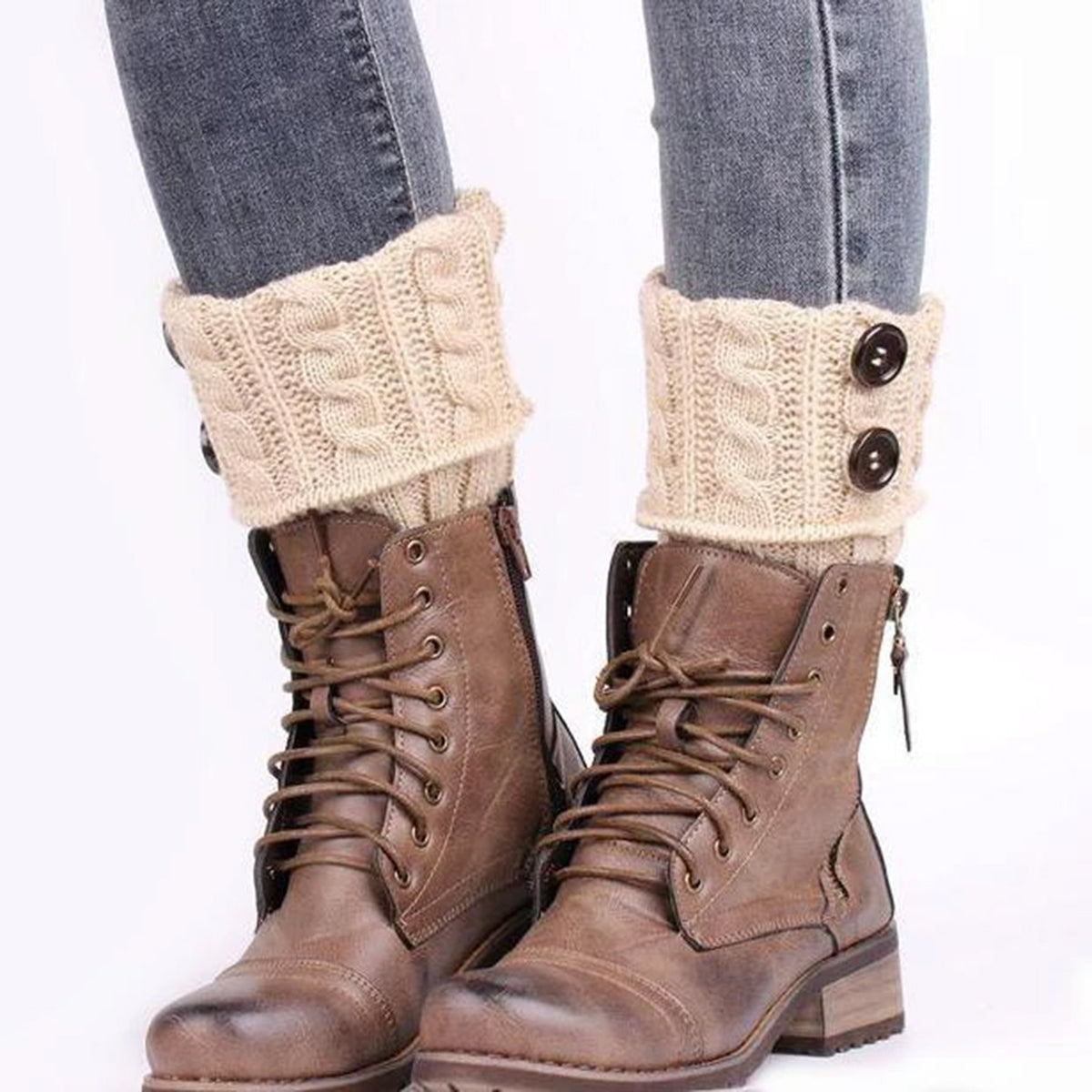 Crochet Knitted Boot Toppers with Button