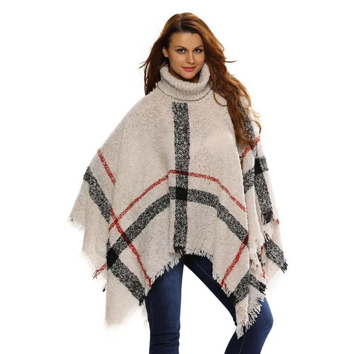 Knitted Loose Striped Poncho Sweater