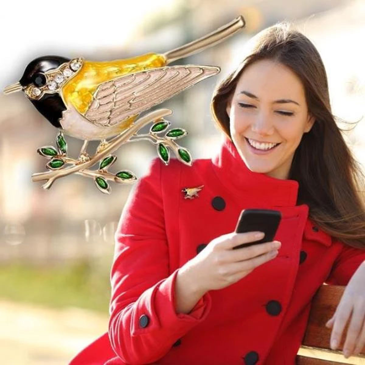 Rhinestone Colorful Enamel Bird Brooch