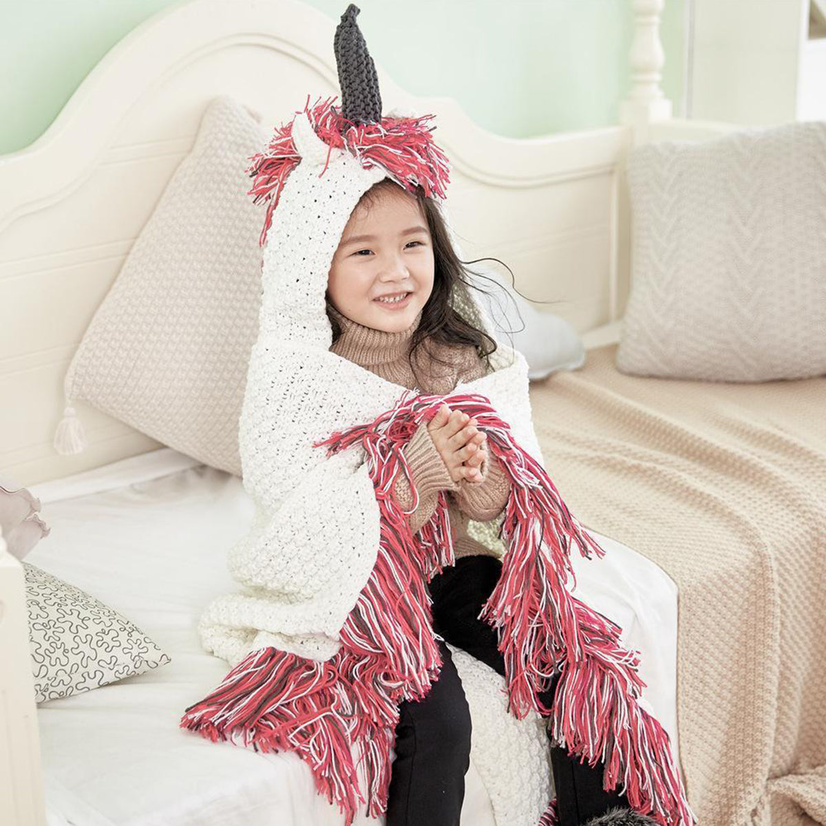 Knitted Unicorn Crochet Blanket with Hooded Tassel