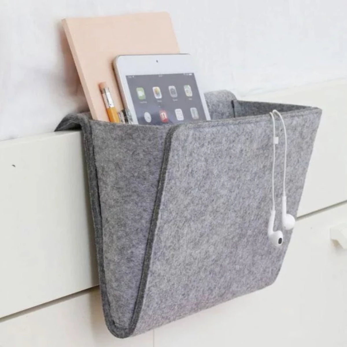 New Gray Bedside Caddy Bag with 2 Small Pockets