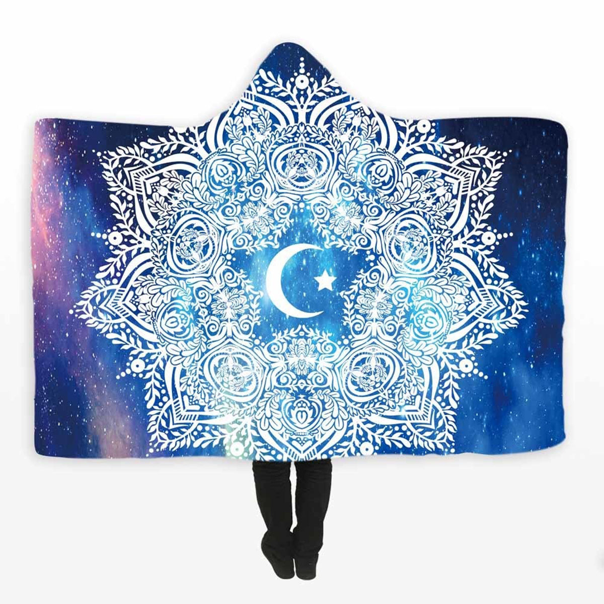 Sparkling Sun and Moon Hooded Blanket